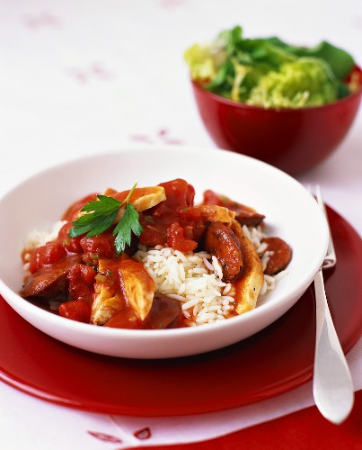 Seafood and chicken stew on rice