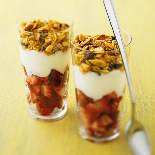Yogurt Parfaits with Strawberries and Granola