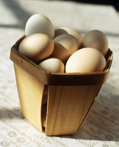 Araucana Eggs in a Wooden Basket