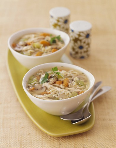 Two Bowls of Hearty Chicken Vegetable Soup with Alphabet Pasta