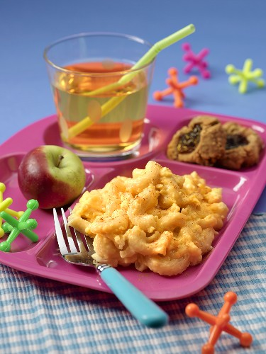 Child's Lunch Tray with Macaroni and Cheese, Onion Rings, Apple and Apple Juice; Jacks