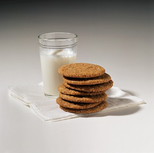 Ginger Molasses Cookies with a Glass of Milk