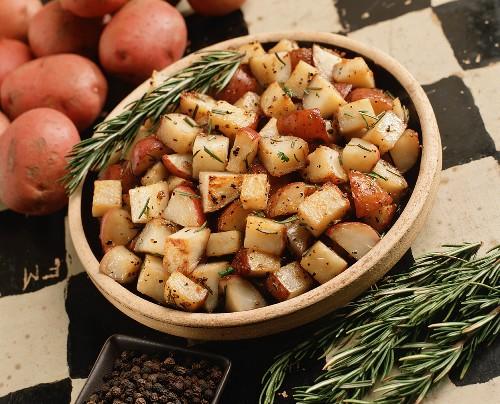 Red Skin Hash Brown Potatoes with Garlic and Fresh Rosemary