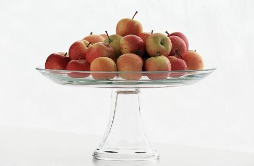 Crab Apples on a Glass Pedestal Dish