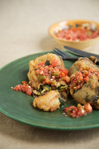 Chiles Rellenos with Salsa