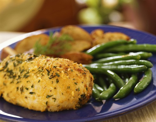 Chicken Kiev with Green Beans and Potatoes, Close Up