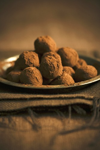 Chocolate Truffles Piled on a Metal Plate