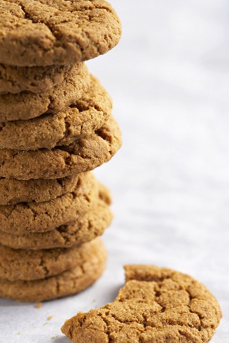 A Stack of Ginger Snaps Close Up