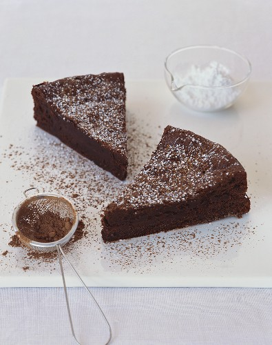Two Slices of Flourless Chocolate Cake