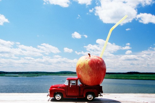 An Apple in the Back of a Model Pick Up Truck by the Water