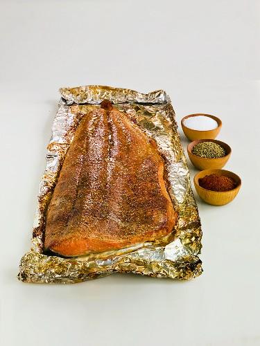 Salmon Fillet on Tin Foil; Spices