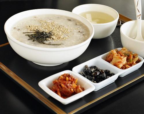 Korean Porridge with Abalone and Small Korean Salads (Banchan)