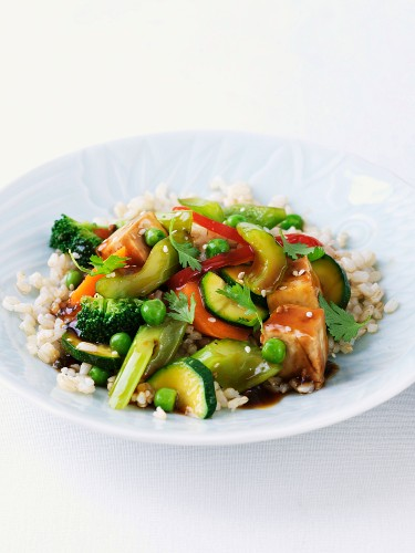 Stir Fry Vegetables and Tofu Over Brown Rice