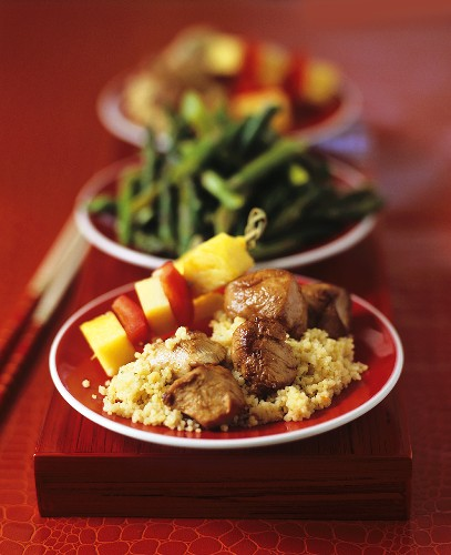 Indonesian Pork Satay with Couscous and Tropical Fruit