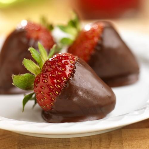 Three Dark Chocolate Dipped Strawberries