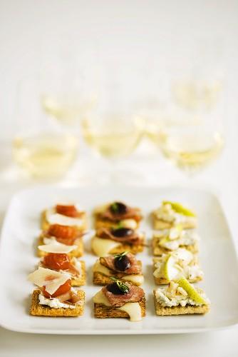 Platter of Hors D'Oeuvres; White Wine