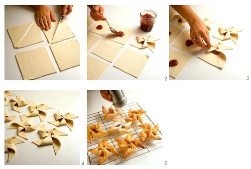 Making puff pastry pinwheels