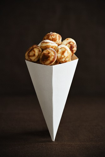 Mini Pancakes in a Paper Cone