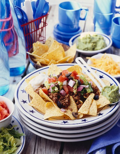 Nachos with minced beef and toppings (Mexico)