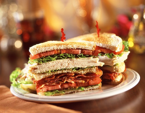 Turkey, Bacon, Lettuce and Tomato Club Sandwich; Halved