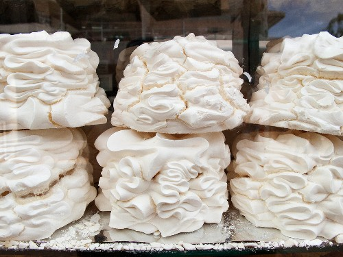 Colombian Suspiros (Cookies Made with Sugar, Egg Whites and Milk); In Window Display