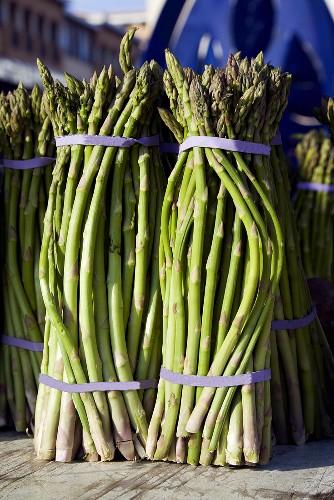 Fresh Bunches of Asparagus at Farmer's Market