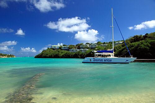Boat in a bay at The Veranda Resort, Antigua, West Indies, Caribbean, Central America, America