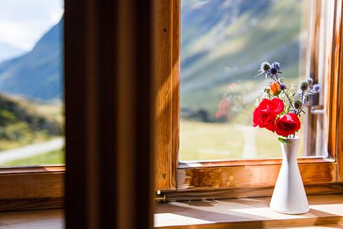 Morning light shines on a vase with mountain flowers inside the window of a hut, window view, Johannis Hut, Praegraten, Virgen Valley, Tirol, Austria