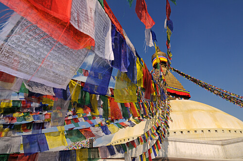Prayer flags at Bodnath Stupa, Kathmandu, Kathmandu Valley, Nepal, Asia