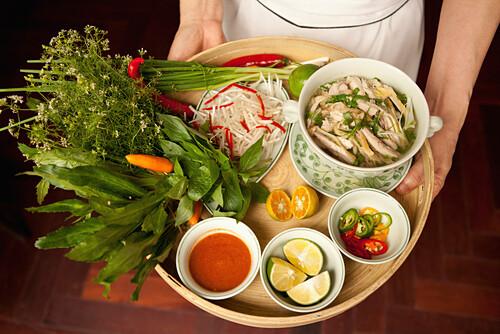 VIETNAM, Hanoi, Sofitel Metropole Hotel, beef pho noodle soup with sides