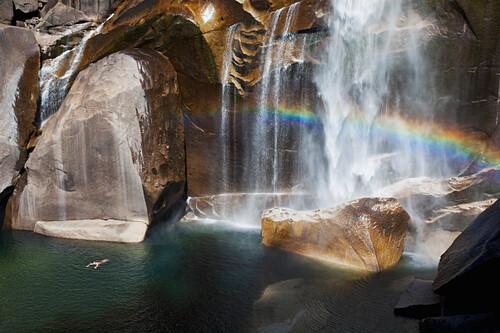 California, Yosemite National Park, Rainbow at Vernal Falls.  EDITORIAL USE ONLY.
