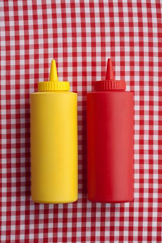 Close up of ketchup and mustard bottles, Santa Fe, New Mexico, USA