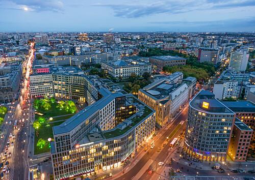 Panoramablick vom Kollhoff Tower auf Leipziger Platz, Berlin, Deutschland