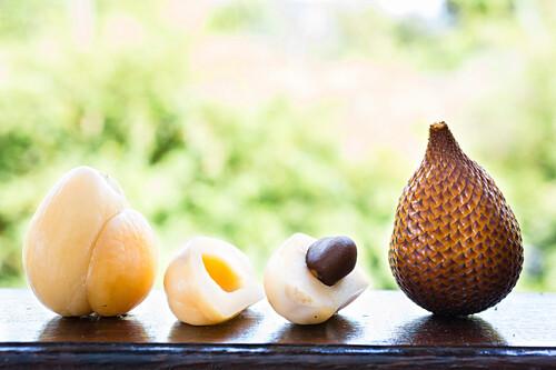 Salak fruit, snake fruit, peeled and open, Sidemen, Bali, Indonesia