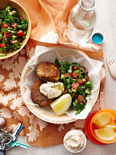 Falafel with hummus and taboulis
