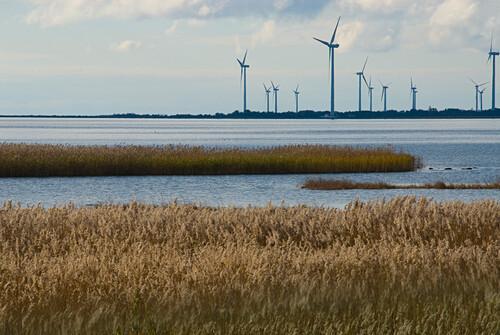 Coastal landscape with wind turbines, Gotland, Sweden, Scandinavia, Europe
