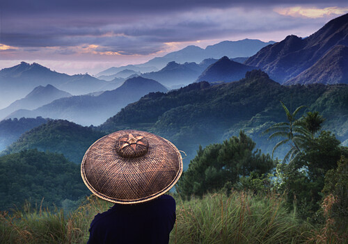 Rice farmer looking at morning mist in the Cordilleras Mountains, Mountain Province, Philippines, Asia