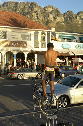 happy hour, street scene in Camps Bay, South Africa