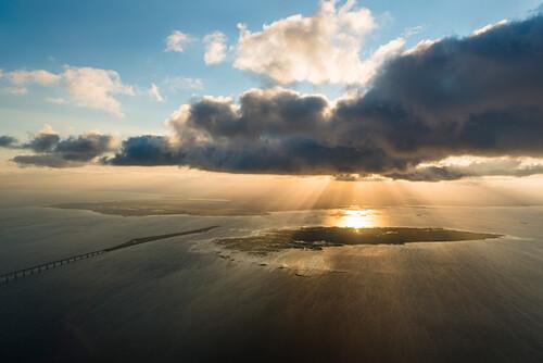 Luftbild der Insel Saltholm vor Kopenhagen, Dänemark