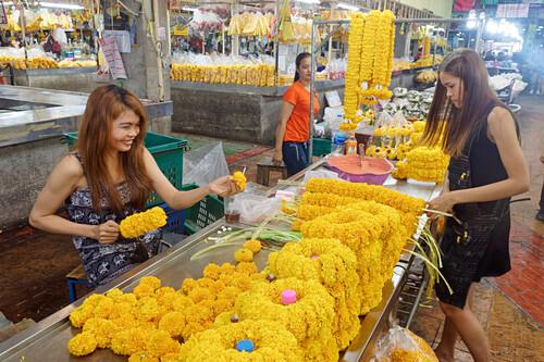 Pak Khlong Talat, Blumenmarkt, Bangkok, Thailand