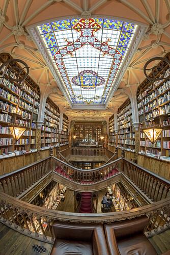 Lello Buchladen, Fischauge,  Porto, Portugal