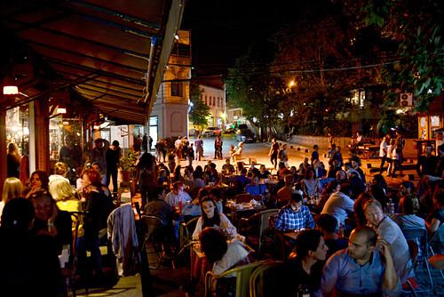 Abends in der Altstadt Sololaki, Tiflis, Georgien