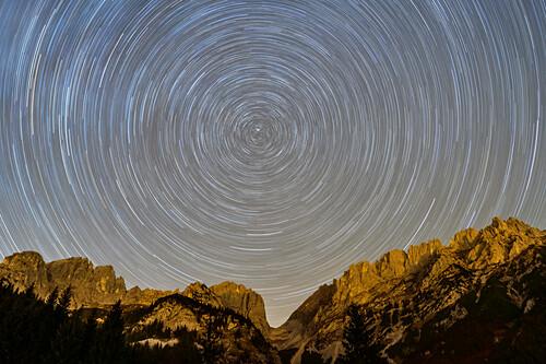 Nightsky with star tracks above Kaiser range, Wilder Kaiser, Kaiser range, Tyrol, Austria