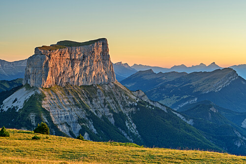 Mont Aiguille in the morning light, from the Tête Chevalier, Vercors, Dauphine, Dauphine, Isère, France