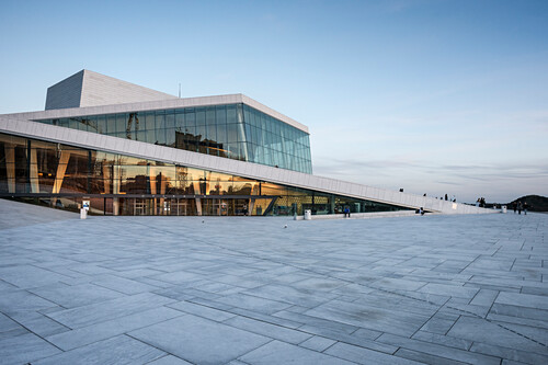 the New Opera House in Oslo at dusk, Norway, Scandinavia, Europe