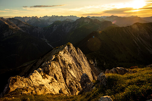 View from the Seebergspitze to the Karwendel mountains at sunset, lake Achensee, Karwendel, Tyrol, Austria