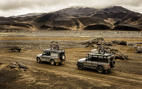 Two offroad vehicels on the way to Askja on a mountain road, Vatnajökul national park, Iceland