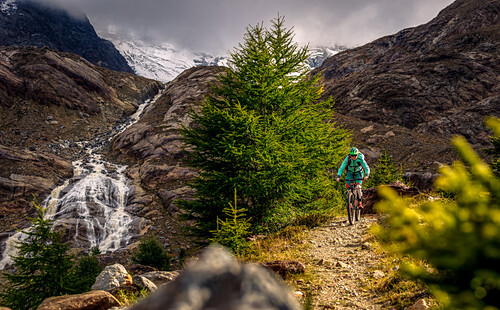Young woman riding her mountainbike next to an alpine river, glacier in the background, Val Forni, Valfurva, Lombardia, South Tyrol, Italy