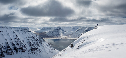 Ski alpinist standing on top of a table mountain and enjoys the view over the fjord landscape, West fjords, Iceland
