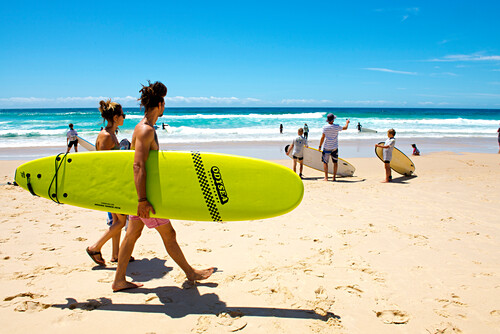 Der Blueys Beach ist bei Surfer beliebt., Blueys Beach, New South Wales, Australien
